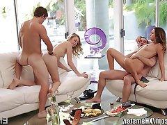 Fellation, Brunettes, Ejac, Sexe en groupe