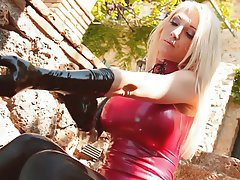 Amateur, Blonde, Latex, Outdoor