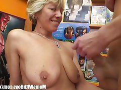Blonde, Blowjob, Granny, Mature