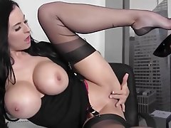 Babe, Big Boobs, Masturbation, Pantyhose
