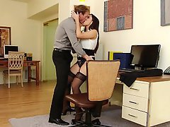 Office, Boobs, Lingerie, Stockings