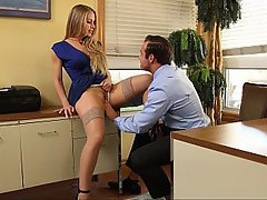 Office, Stockings, Lingerie, Blonde