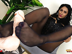 Stockings, Foot Fetish, Dildo, Footjob