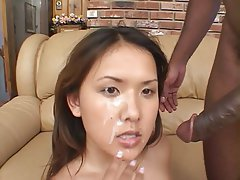 black dick cums on asian face