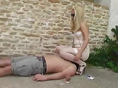 Blonde, Face Sitting, Foot Fetish, Outdoor