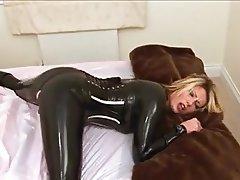 Blonde, Latex, Masturbation, MILF